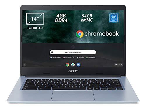 """Acer Chromebook 314 CB314-1H-C2W1 Notebook, PC Portatile, Processore Intel Celeron N4000, Ram 4GB DDR4, eMMC 64 GB, Display 14"""" Full HD LED LCD, Scheda Grafica Intel, Chrome OS, Argento (Silver) [CB]"""