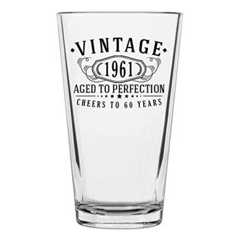 Vintage 1961 Printed 16oz Pint Glass, 60th Birthday Aged to Perfection, 60 years old gifts