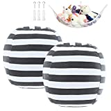 DeELF 2 Packs Stuffed Animal Storage Bean Bag Cover Only 23' for Kids Room DIY Bean Bag Chair Toy Storage Beanbag White Grey Stripes