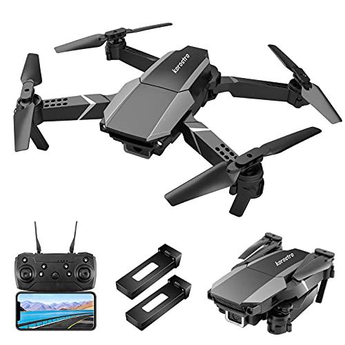 KOROSTRO Drone GPS con fotocamera HD 1080P, mini quadricottero RC pieghevole HD WiFi Live Trasmissione Cellulare, Regolazione dell'altezza, 2 batterie a lunga durata di volo per principianti e bambini