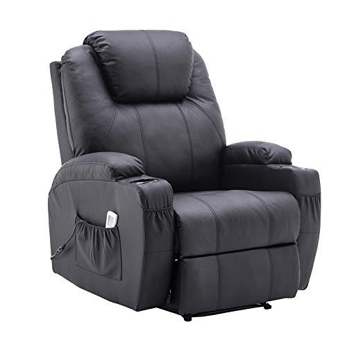 MCombo Elektrisch Relaxsessel Massagesessel Fernsehsessel Liegefunktion Vibration Heizung 7061 (Schwarz)