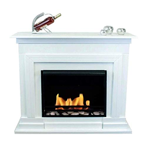 Mierzwa Berlin Deluxe Royal Ethanol Fireplace Gel Fireplace (Gloss White Finish) 3 Litre Gel and Ethanol Burner with Ceramic Cotton and Safety Glass and Set White Decorative Stones
