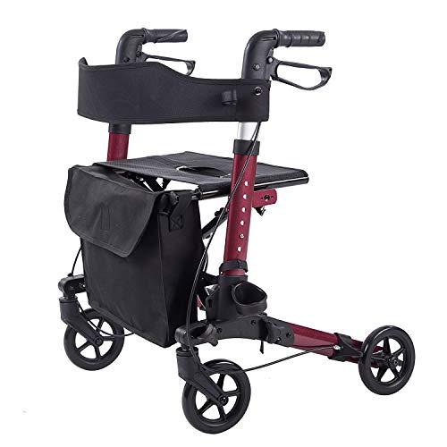 ELENKER LightWeight Rollator Walker,Foldable Stable Compact Rolling Walker with Seat,Detachable Storage Bag ,Red