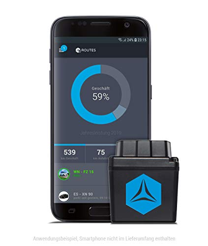 FLEETIZE Elektronisches Fahrtenbuch, Finanzamtkonform, OBD2 GPS Tracker mit EU SIM Karte, Fahrtenschreiber, inkl. 6 Monate Software-Lizenz, automatisch, flottenfähig, kabellos