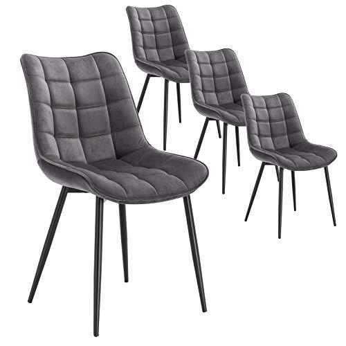 WOLTU 4 x Esszimmerstühle 4er Set Esszimmerstuhl Küchenstuhl Polsterstuhl Design Stuhl mit Rückenlehne, mit Sitzfläche aus Samt, Gestell aus Metall, Dunkelgrau, BH142dgr-4