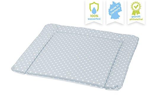 New Swedish Design Wickelauflage 77 x 73 cm, Wickelunterlage für 80 cm Breiten Wickelaufsatz für IKEA Kommoden, z.B. von NSD oder Puckdaddy, schadstofffrei, abwaschbar AUSF. GRAU mit WEISSEN Sternen