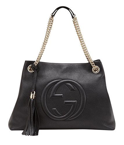 41BHrsWay2L Black leather bag with interlocking GG logo. Gold-toned hardware and chain shoulder straps, with a comfort leather shoulder pad. Two interior pockets inside the main compartment.