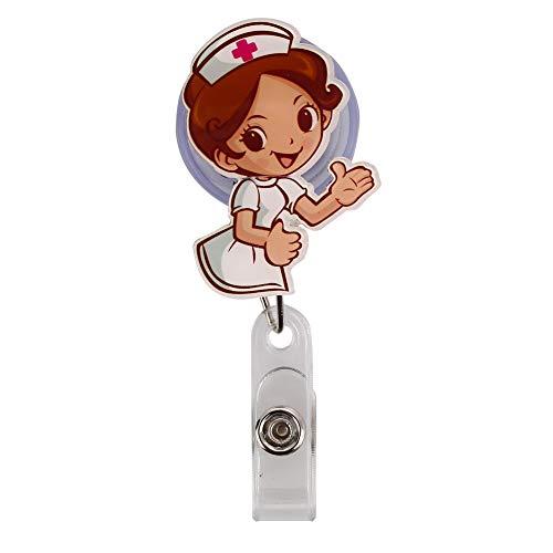 Rosepoem Titular de la placa retráctil Identificación de la credencial Carrete Clip de la tarjeta de identificación Titular de la tarjeta Llaves de los llaveros Titular- Nº 5, enfermera gestual
