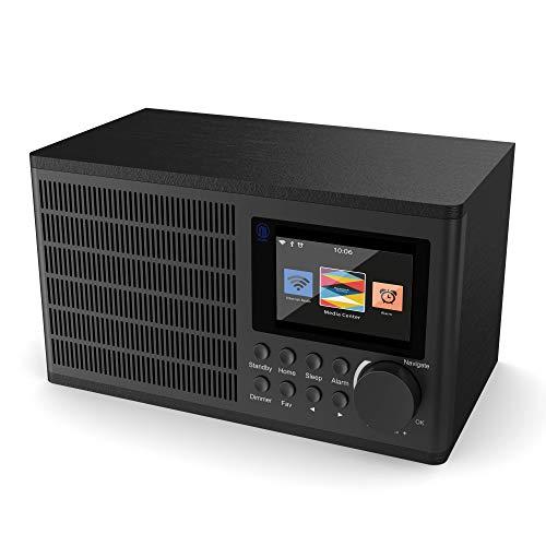 Majority Peterhouse Internetradios WiFi-Verbindung, USB Eingang/Aufladen, Aux-in, Dual Wecker und Einstellungen (Schwarz)