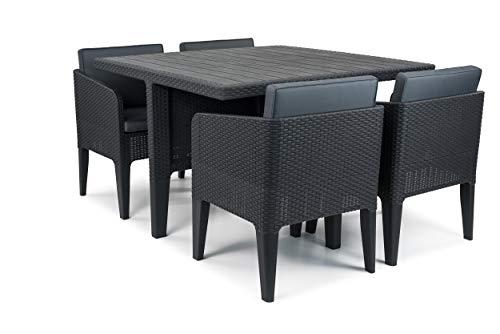 Keter, Columbia, Set Tavolo e sedie, da Giardino, 5Pezzi, Grafite, 56x 54x 68cm, Effetto in Rattan