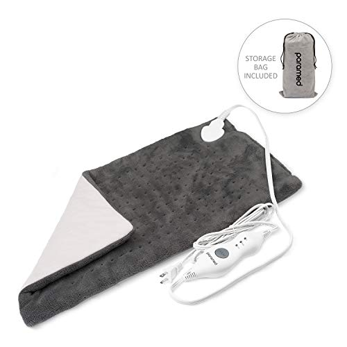 """Heating Pad XL King Size by Paramed - Extra Large 12"""" x 24"""" - Moist/Dry Heat Therapy Functions & Auto Shut-Off - for Neck, Back, Shoulder, Menstrual Pain & Sore Muscle Relief - Washable"""