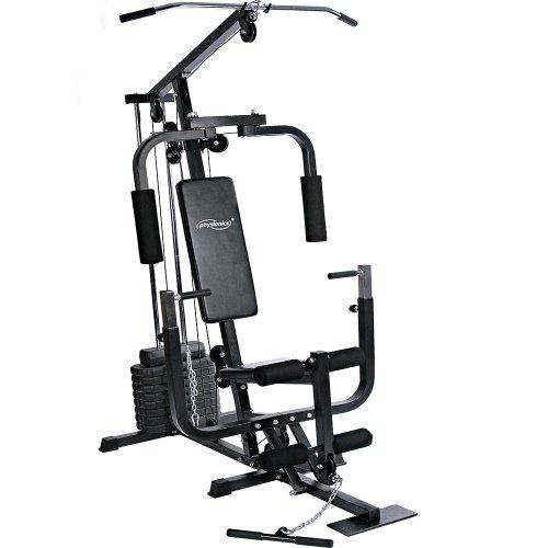 Physionics® Kraftstation - mit 40kg Gewichten, verstellbar, Latzug, Bankdrücken, Butterfly, Beincurl,...