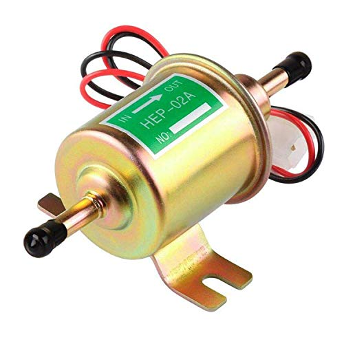 Electric Inline Fuel Pump 12V Universal Transfer Low Pressure Gas Diesel Gasoline Fuel Pump for Carburetor Lawnmower Boat Carter 2.5-4psi HEP-02A