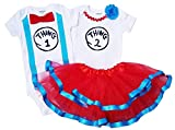 Boy Girl Twin Outfits Thing 1 and Thing 2 Tutu (09M Short Sleeve)