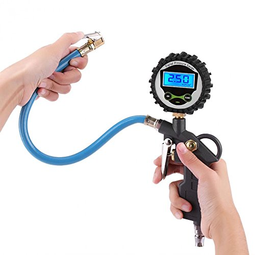Bilvina Air Tire Inflator Gun Digital Display Tire Pressure Gauge with Hose Connect Plug