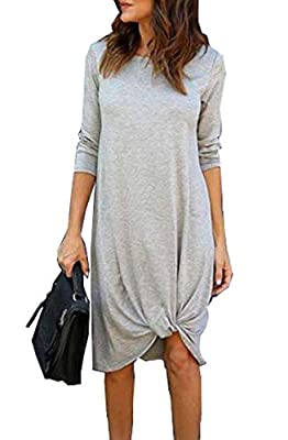 💮【MATERIAL】: Cotton Blend. Breathable, lightweight, soft, friendly to skin, comfortable to wear. 💮【DESIGN】: Casual Dress, Long Sleeve Midi Dress, Side Twist Knot Front, Solid Color Mini Dress, Knee Legth Tunic Dress, Loose Long Dress, It can be easil...