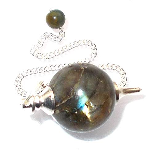 Green Cross Toad Péndulo esférico para radiestesia y sanación en Cristales de Piedra Semipreciosa Genuina (Labradorita)
