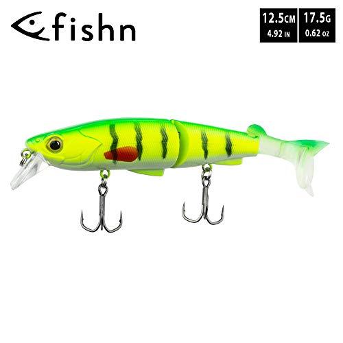 FISHN Hybrid Swimbait MinnowOne, Hardbait, Esche Artificiali, 12,5 cm, 17,5 g, luccio, lucioperca, Pesce persico e Trota, con 2 Code di riserva (Lemon)