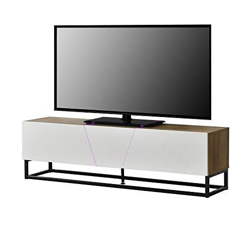 [en.casa] Mobile TV a LED 140 x 35 x 41 cm Supporto TV Comodino RGB 15 Colori Dimmerabile...