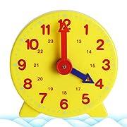 jiheousty Montessori Schüler Lernen Uhrzeit Lehrer Ganguhr 4 Zoll 12/24 Stunden