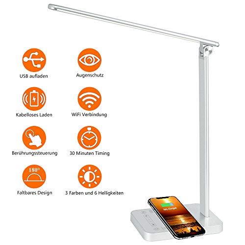 EastPoint LED Schreibtischlampe Dimmbar Tischlampe, 10W QI Wireless Laden und USB-Ladeanschluss, Augenschutz Leselampe, 6 Helligkeitsstufen, Touchfeldbedienung Tischleuchte, drehbar Bürolampe mit WIFI