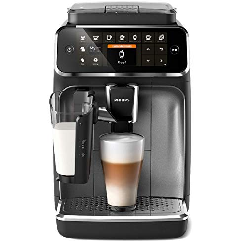 Philips EP4346/70 Serie 4300 Cafetera superautomática, 8 variedades de café, Sistema LatteGo, Molinillo cerámico, Pantalla táctil