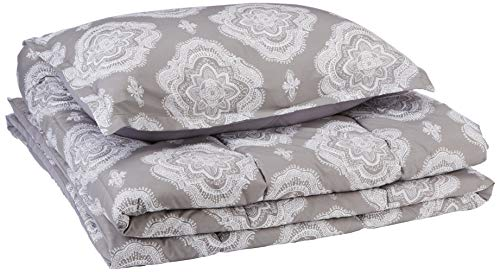AmazonBasics Comforter Set, Twin / Twin XL, Grey Medallion, Microfiber, Ultra-Soft