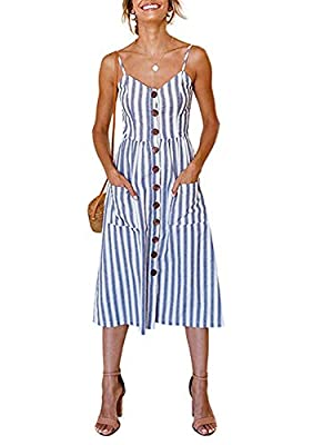 Sexy and Elegant - Blue and white stripes pattern, slim waist, low neck, perfectly show your body shape, neck line and arms, easily be elegant and sexy at the same time. Style - Sexy, Stripes, Casual, Fresh, V Neck, Backless, Sleeveless, A Line, Spag...