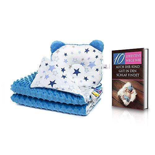 KidiZone ergonomisches Babykissen und antiallergische Babydecke im Set, Baby Bettwäsche für das Babybett komplett, Baby Erstausstattung Geschenk, Taufgeschenke Jungen Mädchen, Bettdecke und Kissen