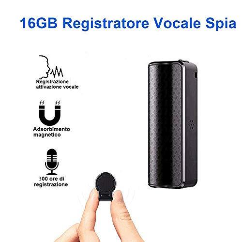 Registratore Vocale Spia, Micro Registratore Vocale da 16GB con Attivazione Vocale Registrazione...
