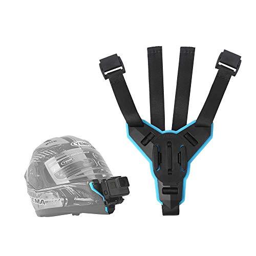 TELESIN - Supporto frontale per casco da moto, per GoPro Hero 2018/6/5/4/3, Session, SJCAM, Akaso, Campark, Polaroid, YI Action Camera Helmet Mount Curvo (cinghia per casco da motociclista)