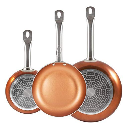 Le originali Chef Copper Plus! Set di 3 padelle con rivestimento in rame ultra resistente - 100% Senza PFOA  18/22/26 cm Utilizzabili anche in Forno, su piano cottura a Gas e Induzione - 1093