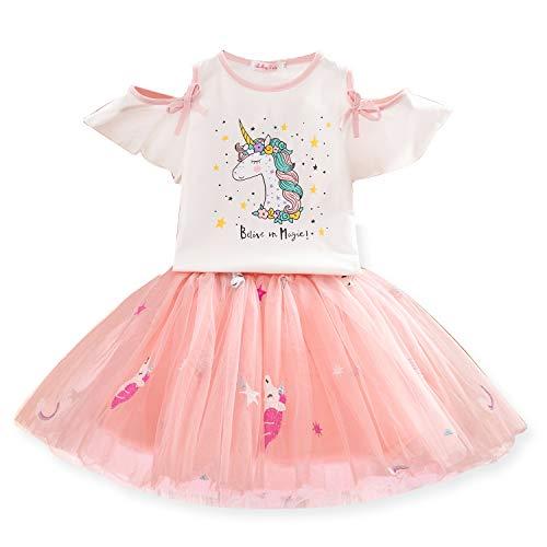 NNJXD Conjunto de Ropa para Niñas, Camiseta Unicornio Tops de Niña con Vestido de Fiesta de Cumpleaños de Princesa de Tul 2-3 Años Unicornio Blanco