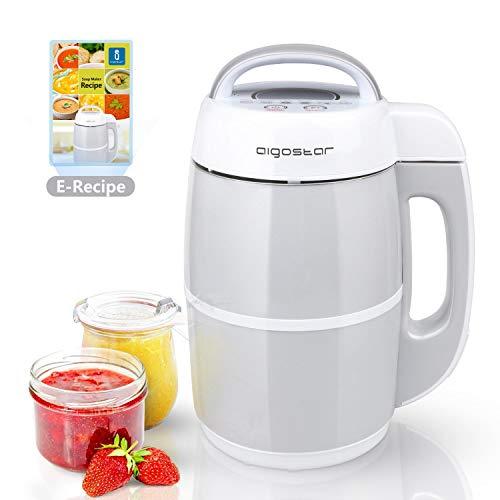Aigostar Beanbaby 30IMW - Soup maker/frullatore per latte vegetale incluso ricettario PDF. Cuocipappa Potente frullatore da 952W e capacità da 1.7L, BPA FREE.