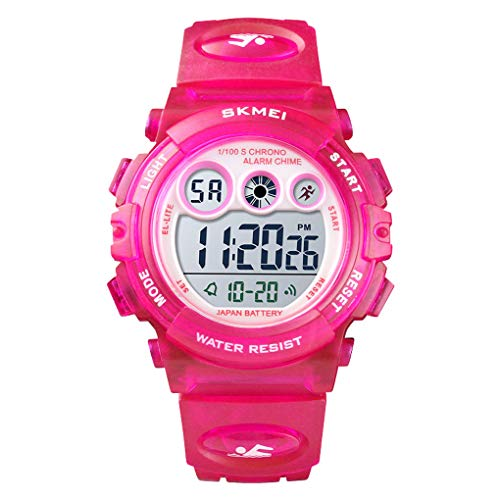 Skmei Boys Girls Sports Watch, Multi Function Digital Kids Watches Waterproof LED Light Wristwatches for Children (Rosered)