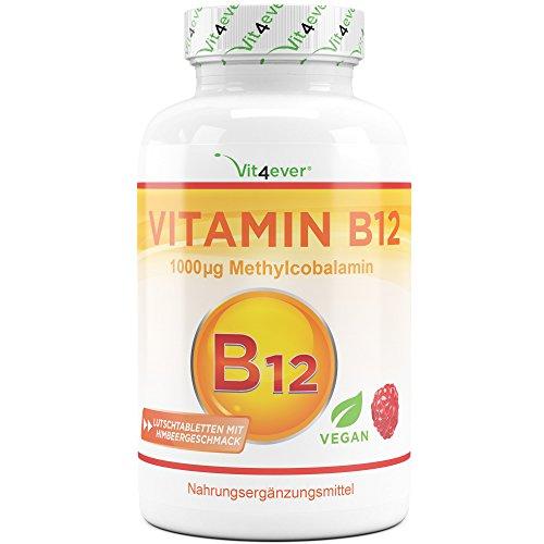 Vitamin B12 Vegan - 365 Lutschtabletten mit Himbeergeschmack - Premium: Aktives Methylcobalamin - Laborgeprüft (Wirkstoffgehalt & Reinheit) - Hochdosiert
