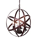 Lika 4-Light Chandeliers 15.7' Farmhouse Rustic Industrial Pendant Lighting with Metal Spherical Shade Black Chandelier for Dining Room, Kitchen, Foyer… (Bronze)