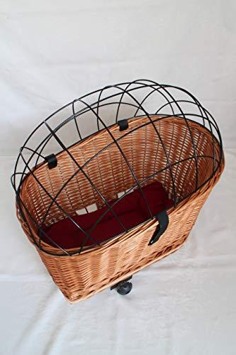 Marcus´ Weidenhandel Buffy - Hundefahrradkorb für Gepäckträger aus Weide mit Metallgitter und Kissen Natur XL oder XXL (XXL mit Kissen)