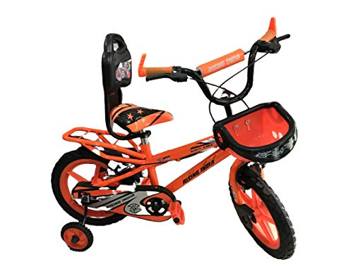 """Rising India 14"""" Sports Kids Bicycle for 3-5 Years with Full Chain Cover and Bottle Semi Assembled (Neon Orange with Carrier)"""