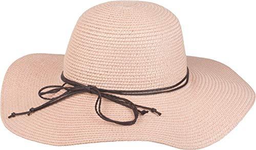 styleBREAKER Damen Strohhut mit schmalem Band und Schleife, Sonnenhut, Schlapphut, Sommerhut, Hut 04025012, Farbe:Rose
