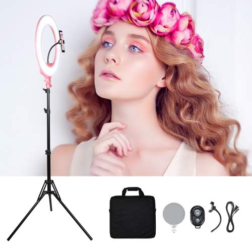 18' Selfie Ring Light|Dimmable/High Light|Cell Phone Holder|Bluetooth Remote|69inch Tripod Stand|Make up Mirror|Live Stream/Makeup/Selfie/YouTube Video/Photography/Zoom Video (18' Pink)