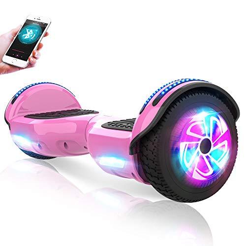 M MEGAWHEELS Hoverboard 6,5 Pouces, Gyropode avec Moteur de 500W Auto-équilibrage Balance Board avec Bluetooth Musique et Pneu LED pour Enfant et Adulte d'Anniversaire Noël-Rose