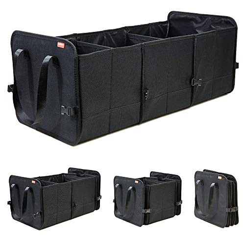 Achilles Vario-Box Faltbarer Auto-Organizer größenverstellbare Kofferraum-Tasche-Korb mit Klettbefestigung am Boden großer Falt-Korb-Box Klapp-Box-Korb schwarz 72x33x30cm