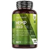Huile de Chanvre 1000 mg Extra Fort 100% Naturel - 180 Capsules (6 Mois) - Complément Alimentaire Hemp Seed Oil aux Oméga 3, Oméga 6 et Oméga 9 et Vitamines, Haute Absorption et Facile à Avaler