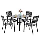 PHI VILLA 5-Piece Metal Patio Outdoor Dining Set- 37' Square Bistro Table and 4 Backyard Armrest Garden Chairs, Table with 1.57' Umbrella Hole