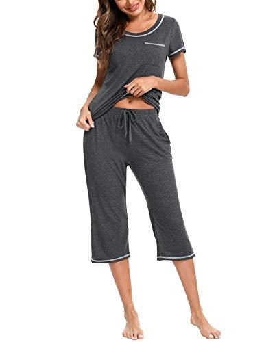 Doaraha Pijamas Capri para Mujer Algodón Suave Ropa de Dorm