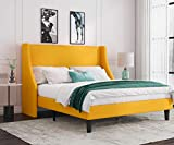 Allewie Full Size Modern Platform Bed Frame with Wingback / Upholstered Bed Frame with Headboard / Wood Slat Support / Mattress Foundation / Light Yellow(Full)