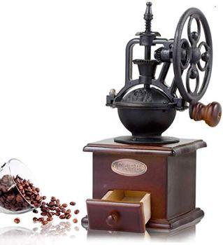 Moulin à café manuel de manivelle de fonte de moulin à café manuel avec les paramètres de morcellement et le tiroir de prise,Broyeur à café à main de style rétro meule