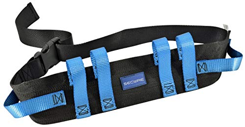 Secure Transfer Gait Belt with Handles and Quick Release Buckle - Elderly Patient Walking Ambulation Assist Mobility Aid (52'L x 4'W, Blue Handle (Quick Release Buckle))