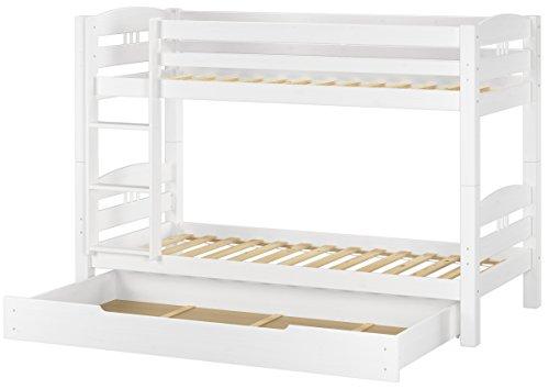 Erst-Holz® Etagenbett Kiefer waschweiß 90x200 mit Rollrost Bettkasten Kinderstockbett Hohes Bett 60.10-09WS1